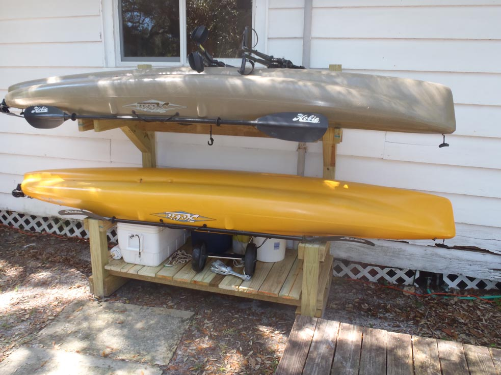 How do you store your kayak at home pensacola fishing forum for Kayak fishing forum