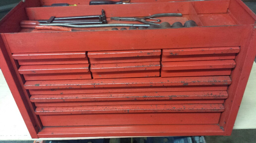 Vintage Snap On Top Tool Box Locking  Drawers Sockets And Tubing Wrenches __resized