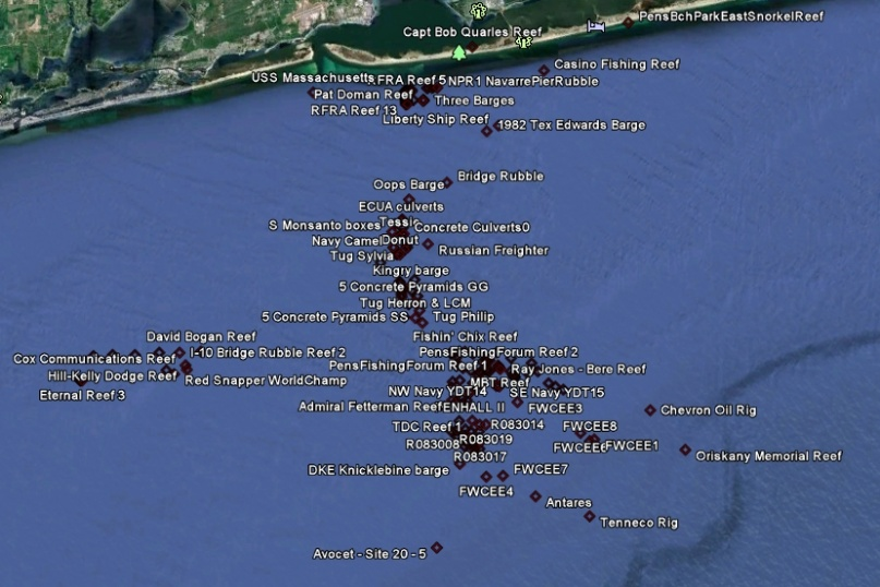 converted GPS numbers for Escambia County Artificial Reef 24May2011-escambia-afr-master-list-24may2011-jpg
