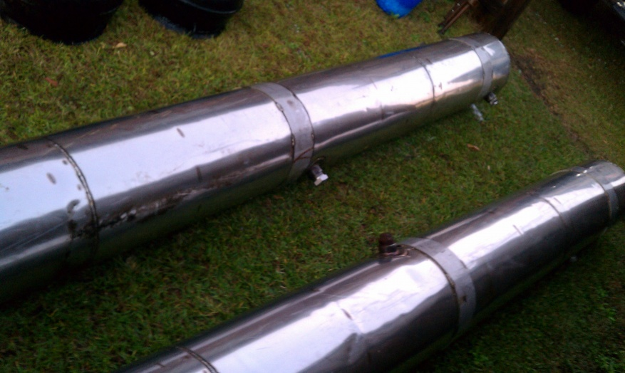 2) 11 1/2 ft  homemade stainless steel pontoons, or tanks