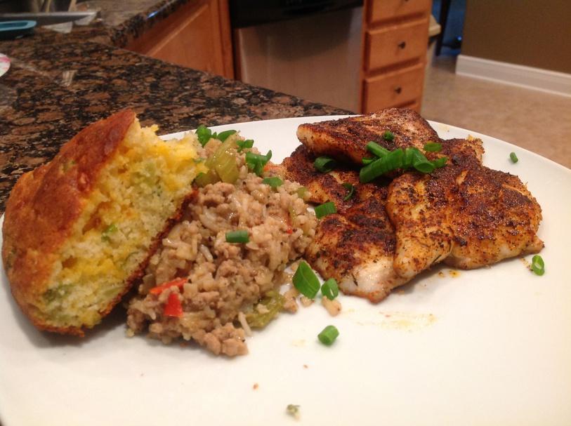 Blackened Catfish and Dirty rice-image-jpg