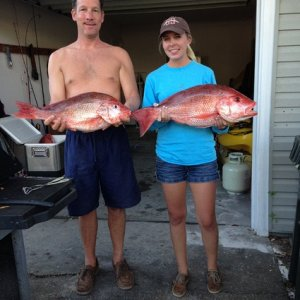 devinsdad and I with our red snappers