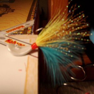 Pompano Jigs 3/8 Wobble, 2/0 black nickel, UV2 marabou, H2O twist, deer belly hair