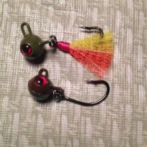 Shakey head, modified football, #2 Flyliner  for bait, plastic or tied.
