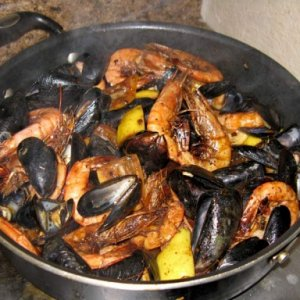 Shrimp & mussels sauteed in lots of garlic butter and lemon awe yeah.....