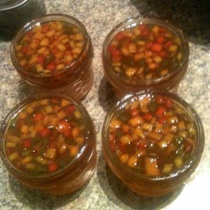 Pepper jelly made with roasted Jalapenos and red and yellow bells