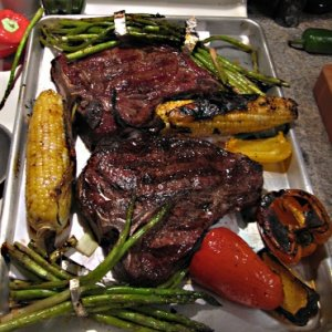 Steak and veggies on the grill