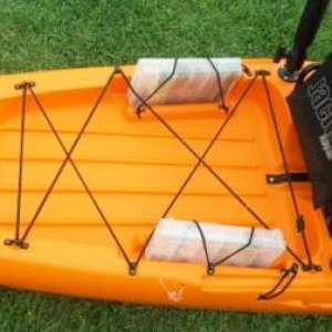 large well, tackle storage, seat pouch, and RAM Rocket launcher rod holders on Cuda 14