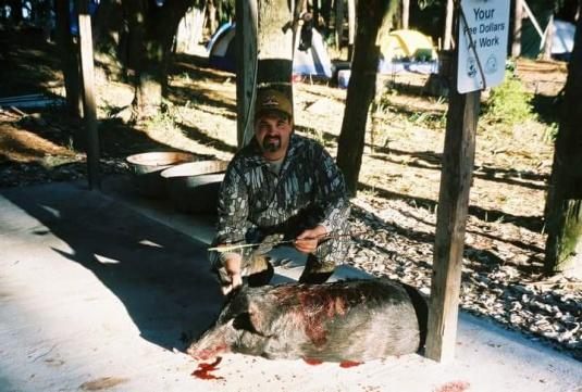 Hog harvested on St. Vincent Island 2003.